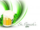 Happy St. Patrick's Day celebrations concept with beer mug on shiny green wave background.