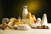 picture of milk products  - Tasty dairy products on wooden table - JPG