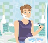 picture of shaved head  - young man shaving in bathroom mirror  vector illustration - JPG
