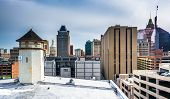 stock photo of pov  - View of buildings from a parking garage in Baltimore Maryland - JPG