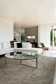 beautiful interiors of a modern house, living room, white divan