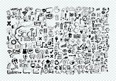foto of sketch book  - Hand doodle Business icon set idea design on transparent background - JPG