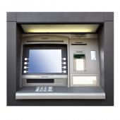 image of automatic teller machine  - Automated teller machine close up isolated over white background - JPG