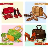picture of ankle shoes  - Set of women elegant bags shoes and accessories in evening fashion casual and beach style isolated vector illustration - JPG
