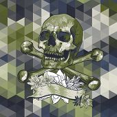 Skull with a ribbon on geometric background