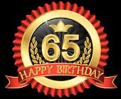 65 Years Happy Birthday Golden Label With Ribbons, Vector Illustration