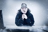 image of beanie hat  - Office worker with mustache in cold snow - JPG