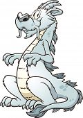 Cartoon white dragon. Vector clip art illustration with simple gradients. All in a single layer.
