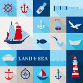stock photo of brig  - Set of Nautical Vintage Elements  - JPG