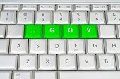 Internet Top Level Domain .gov Spelled On Metallic Keyboard