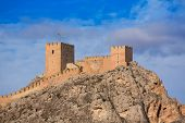 stock photo of sax  - Alicante Sax village castle and skyline in Spain - JPG