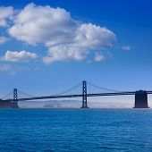 San Francisco Bay bridge from Pier 7 in California USA