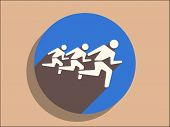 Flat long shadow icon of running mans