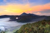 foto of bromo  - Bromo Mountain in Tengger Semeru National Park at sunrise East Java Indonesia - JPG