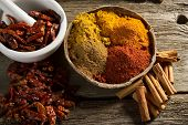 variety of spice on wood background