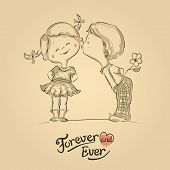 image of flirt  - Hand drawn Illustration of kissing boy and girl - JPG