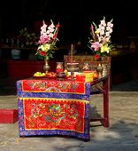 Altar At A Temple In Taiwan