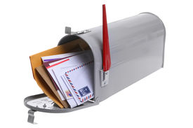 image of knockout  - Grey Mailbox full of mail isolated on a white background - JPG