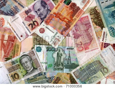 Background. Russian Rubles And Croatian Kunas