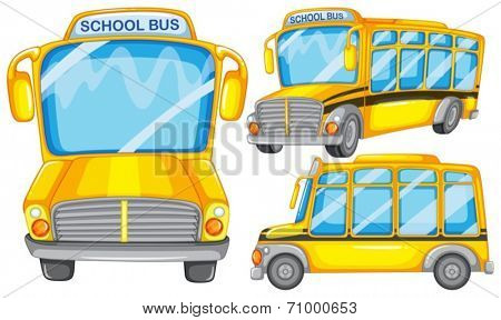 Illustration of many school buses