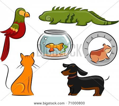 Design Illustration Featuring Different Pets