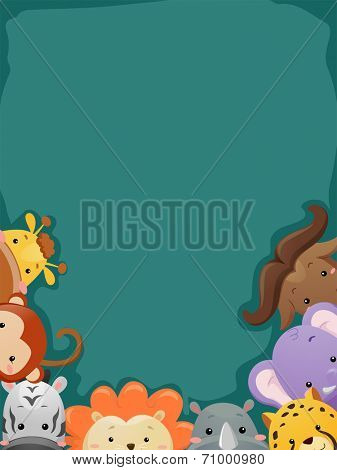 Background Illustration Featuring a Cropped Shot of Safari Animals