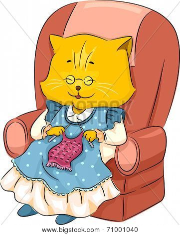 Illustration Featuring a Granny Cat Knitting