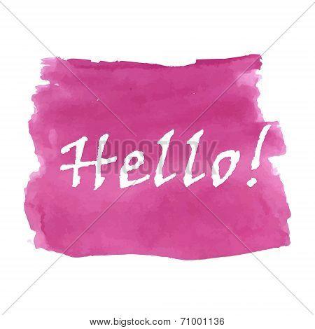 Hello word watercolor
