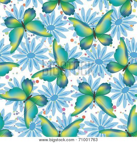 Seamless pattern, butterflies and flowers