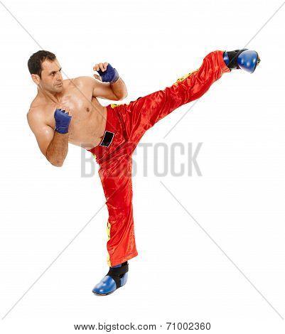Kickbox Fighter Executing A Kick