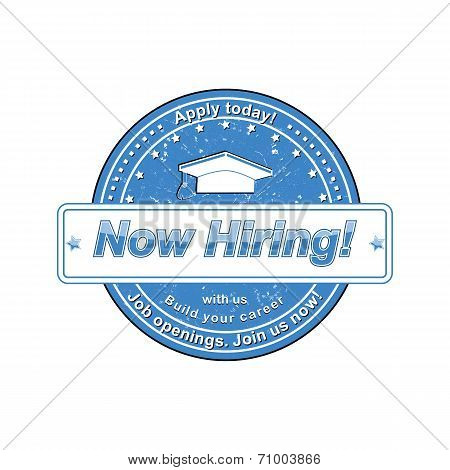 Now Hiring Stamp Label