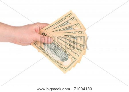 Male hand holding american dollar-bills.