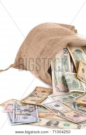 Full sack with dollar bills.