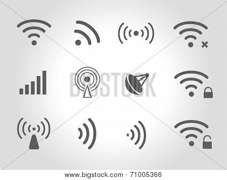 Set of twelve different black  wireless and wifi icons for remote access communication via radio wav