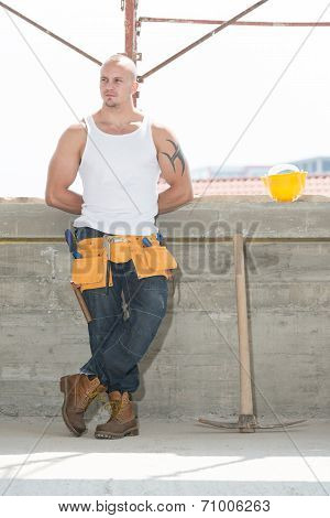 Construction Worker Taking A Break On The Job
