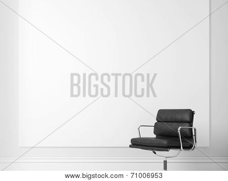 Blank poster and black office chair