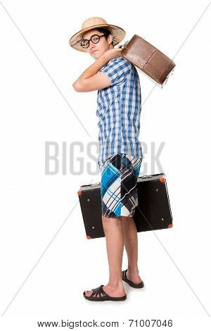 Young, Handsome Man In Glasses With Two Bags Ready To Trave