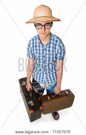 Young Man In Glasses With Two Bags Ready To Travel.