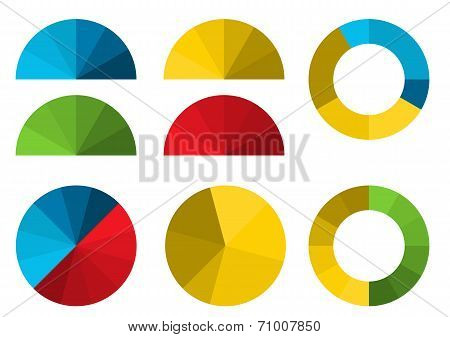 Set Of 4 Colorful Half Pie Diagrams In Color Shades And 4 Full Pie Diagrams In These Color Shades