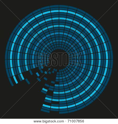 Colorful Background In Shades Of Blue In Circular Tiles With Black Background
