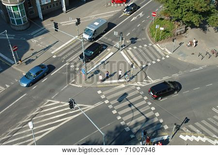 Traffic On Crossing On Poznanska Street In Poznan, Poland