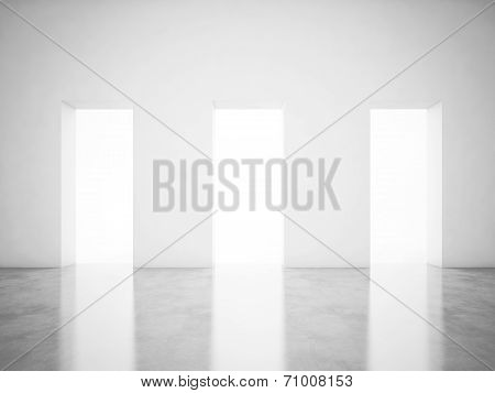 Empty bright office interior with luminous doorways