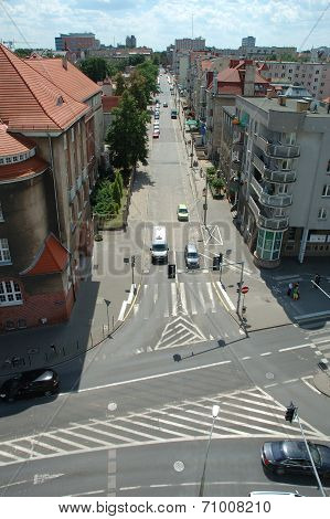 Traffic On Mickiewicza Street In Poznan, Poland