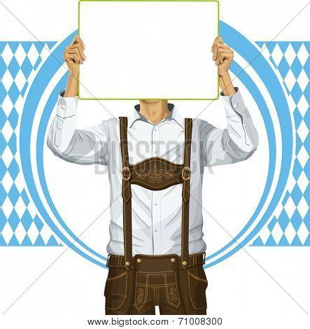 Idea concept. Vector Man with write board in lederhosen on oktoberfest