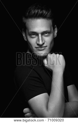 Cool Young Sexy Man Standing On Dark Background
