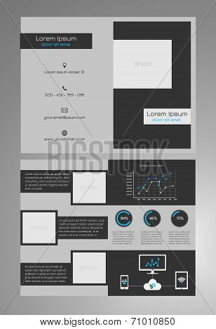 Business bifold brochure template - modern, dark grey and blue design - 8,5x11 inches