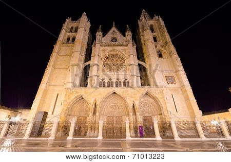 Leon cathedral at night Leon Spain .