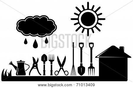gardening tools set on farm landscaping
