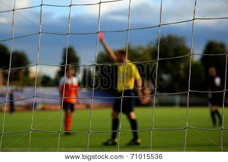 The football net with referee