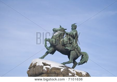Equestrian statue in Kiev